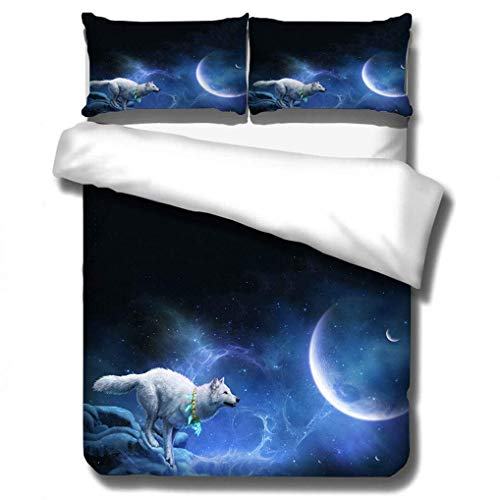 788 3D Animal Wolf Duvet cover, Bedding Set Galaxy Phantom Ghost Wolf Flame Blue Black Fluorescence Quilt cover with Zipper, for Children Boys (Wolf 6, 150x200 cm)