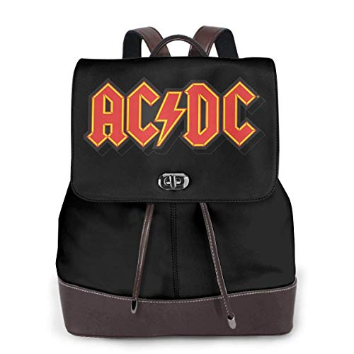 Ac Dc Back in Schwarz Damen Leder Rucksack Multifunktions College School Laptop Bookbag
