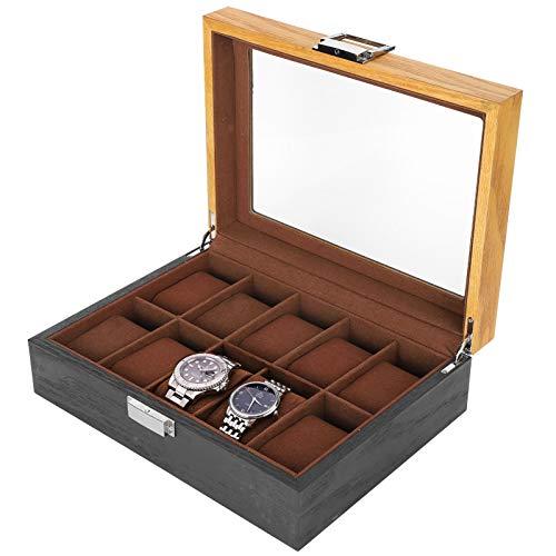 Caja de almacenamiento de reloj, caja de reloj clásica de madera maciza simple, para hombre novio