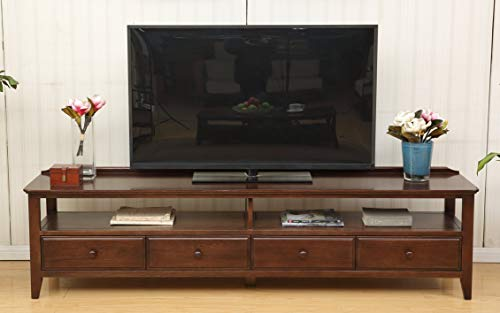 Hallowood Washington Large Dark Oak TV Unit Stand | 100% Solid Wooden Long Media Cabinet Storage Table | 2 Meter Extra Wide Up to 80 Inch Screen Size, Walnut Finish, MC303H-2000