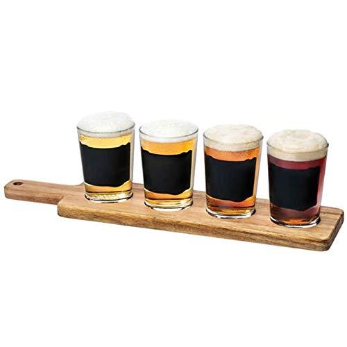 MGE - Set Degustazione di Birra - 4x Bicchieri di Birra + Vassoio in Legno - Ideale per Gli Amanti della Birra - Wood Beer Tasting Glassware - 5 Pezzi