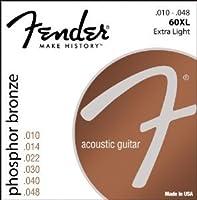 Fender アコースティックギター弦 Phosphor Bronze Acoustic Guitar Strings, Ball End, 60XL .010-.048