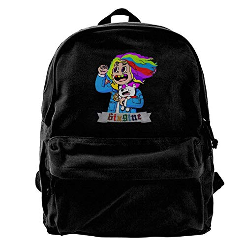 Hengtaichang Canvas Backpack 6ix9ine Rucksack Gym Hiking Laptop Shoulder Bag Daypack for Men Women