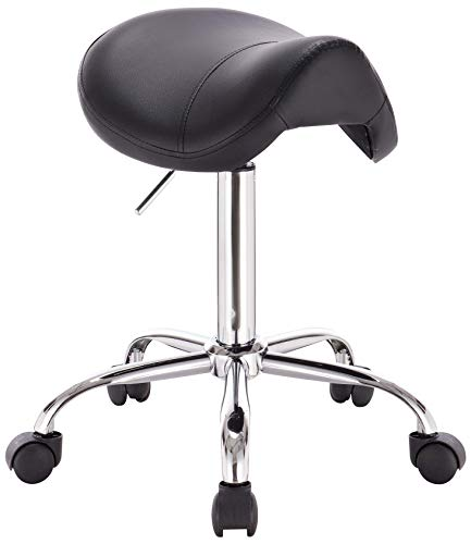 DevLon NorthWest Professional Saddle Stool Series Hydraulic Swivel Comfortable Ergonomic with Heavy Duty Metal Base for Clinic Dentist Spa Massage Salons Studio (BLACK)