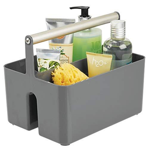 mDesign Badezimmer Aufbewahrungsbox – Korb mit Griff zur Kosmetikaufbewahrung – Bad Organizer mit zwei Fächern – dunkelgrau/mattsilberfarben