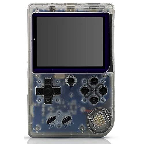 Rora Juegos Consola portátil, Retro FC Plus Game Console, 168 Juegos clásicos, Pantalla de 3 Pulgadas y Salida de TV para niños Hombres Gameboy Regalo Transparente