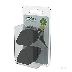 Koala Internatioal 4 Tapones dosificador antigoteo, Polipropileno, Negro,