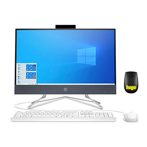 "2020 HP 22 All-in-One Desktop Computer 21.5"" Widescreen FHD/Intel Celeron G5900T 3.2 GHz/ 4GB DDR4 RAM/ 256GB SSD/DVD-Writer/AC WiFi/HDMI/Bluetooth/Blue/Windows 10 Home with Hugo Mouse (Renewed)"