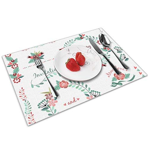 Dingl bruiloft patroon pak slinger bloem lint Placemat wasbaar anti-slip voor keuken diner tafel mat, gemakkelijk te reinigen Placemat 12x18 Inch Set van 4