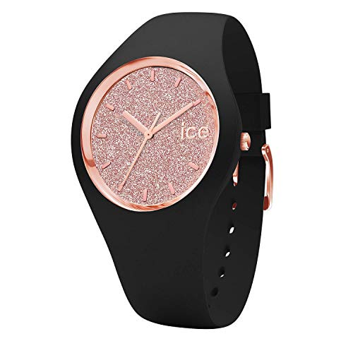 Ice-Watch - ICE glitter Black Rose-Gold - Schwarze Damenuhr mit Silikonarmband - 001353 (Medium)