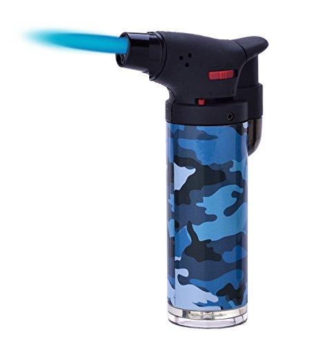 Camouflage Easy Big Torch Jet Feuerzeug Küche Zigarre Camping Gas Elektronische Sperre Schalter Leichter (Blau)