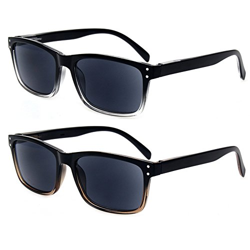 2 Pack Unisex Classic of Style Sunglasses Readers - Comfortable Stylish Simple Readers Rx Magnification (1 Clear 1 Brown, 2.00)