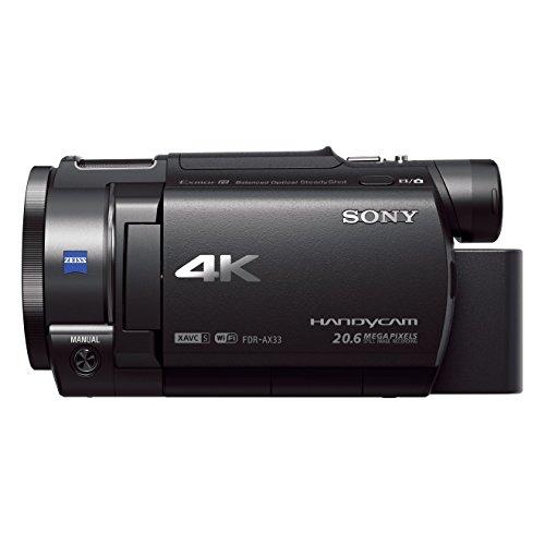 Sony FDR-AX33 Videocamera 4K Ultra HD con Sensore CMOS Exmor R, Ottica Grandangolare Zeiss da 29.8 mm, Zoom Ottico 10x, Stabilizzazione Integrata (BOSS), Nero