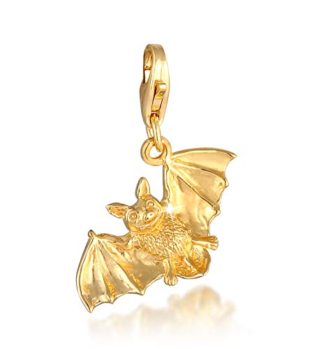 Bat Charm Pendant Gold-Plated 925 Sterling Silver for Women, Bat Animal Motif Bead Charm Fits All Standard Charm Bracelets and Charm Bracelets, Colour Gold, 0406331620