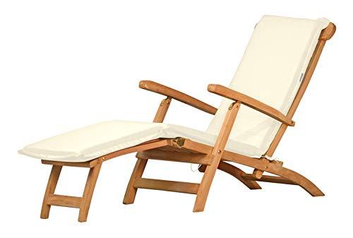 Auflage für Deckchair, weiß, dralon, waschbar ✓ 2X geknickt ✓ Made in Germany ✓