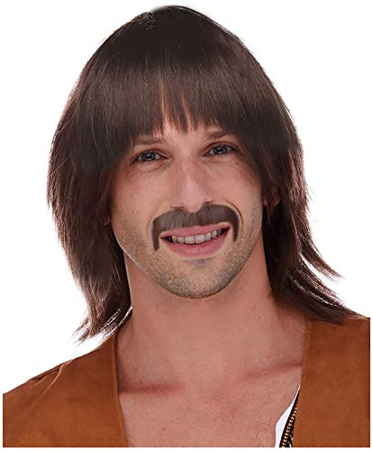 60's Brown Hippie Wig for Men Sonny Wig and Mustache Costume Hippie Sonny Wig