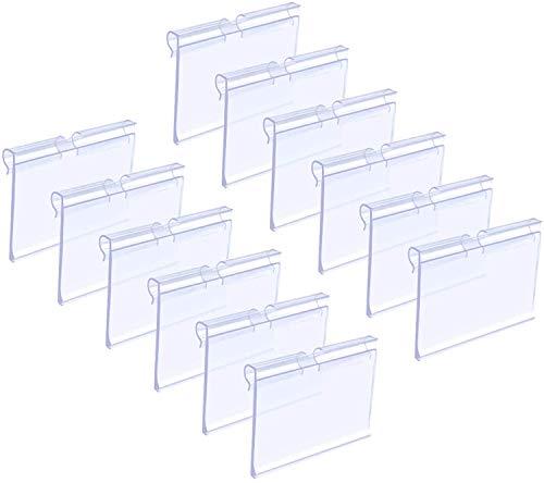Etiquetas de Plástico para Estanterías,JEANGO 80 Pcs Soportes para Mostrar Etiquetas de Plástico Transparente para Tiendas Mercería Oficina de Precio Minorista, Centro Comercial 6 * 4,2 cm