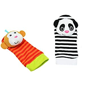 ZHANGNUO Sonajero para Bebé Juguetes Sonajero De Muñeca Y Calcetines De Pie Animal Cute Cartoon Baby Socks Sonajero Toys Oro