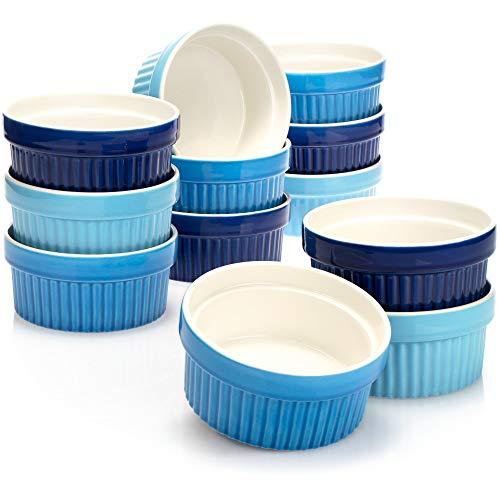 COM-FOUR® 12x Soufflé Förmchen - Creme Brulee Schälchen aus Keramik - Ofenfeste Förmchen - Dessertschale und Pastetenförmchen für z.B. Ragout Fin - je 270 ml - in verschiedenen Blautönen