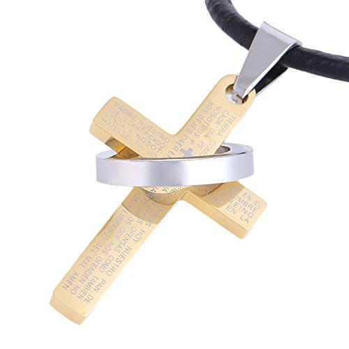 DonDon Hombres Collar de Piel 50 cm con Colgante de Cruz de Acero Inoxidable Oro en una Bolsa de Terciopelo