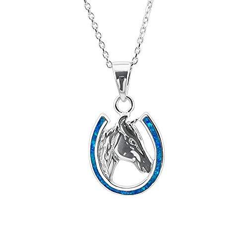 Kiara Jewellery Collar de plata de ley 925 con colgante de herradura de ópalo de laboratorio azul con cabeza de caballo en cadena de plata de ley de 45,72 cm, chapado en rodio.