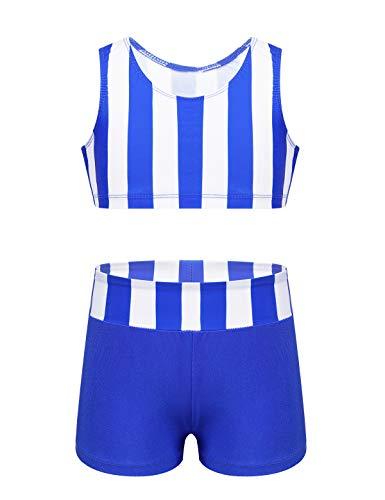 ranrann Conjunto Deportivo de Gimnasia Fitness para Niña Traje de Ballet Danza Moderna Chaleco Deportivo Rayas Sport Shorts Traje de Baño Dos Piezas Azul 8 Años