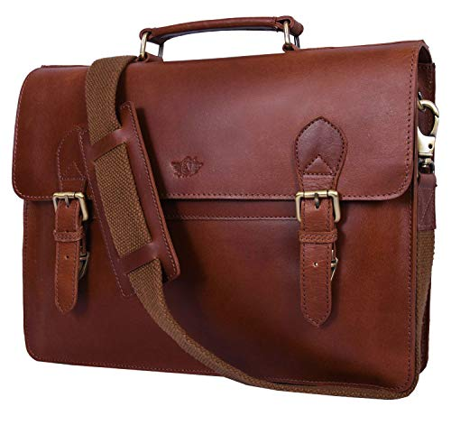 Addey Supply Company 15.5' Leather Messenger Bag for Laptop Briefcase Bag 15.5X3.5X11.5 inch Walnut