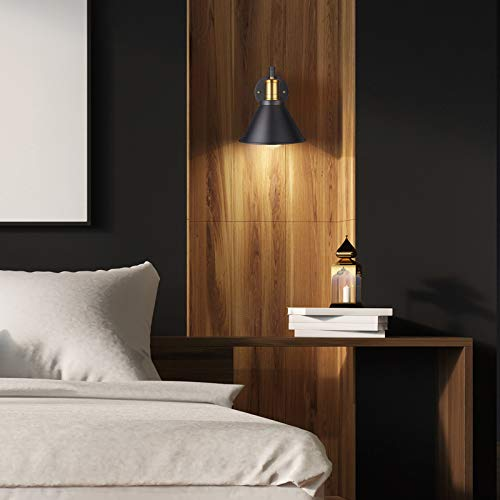 ArcoMead Swing Arm Wall Lamp Plug-in Cord Industrial Wall Sconce, Bronze and Black Finish,with On/Off Switch, E26 Base UL Listed,1-Light Bedroom Wall Lights Fixtures,Bedside Reading Lamp