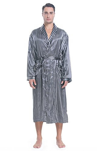Lavenderi Mens Silky Satin Lounge Robe, Long Lightweight Sleepwear (L, Grey Stripe)