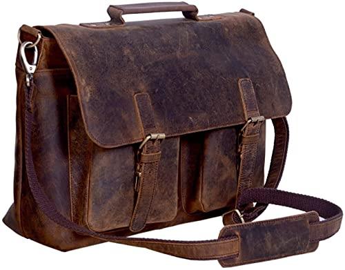 Laptop-Tasche von KomalC, 45,7 cm große Kuriertasche aus Büffelleder im Retro-Stil, für Männer und Frauen