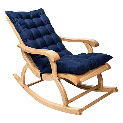 Rocking Chair Cushions Sun Lounger Cushions Chair Pads Deskchair Seat Cushion Wooden Rocking Chair Pad Mat for Indoor Outdoor (cushion only) (Navy blue)