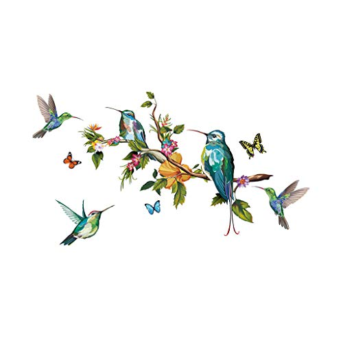 12shage Flower Garden Birds on Tree Branch Kids Wall Stickers Wall Decals Peel and Stick Removable Wall Stickers for Kids Nursery Bedroom Living Room