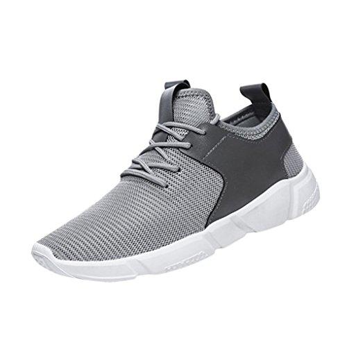Zapatos de hombre Zapatillas de deporte para hombres Moda Correas Excursionismo Deportes Corriendo Casual Sólido Zapatos LMMVP (Gris, 42)