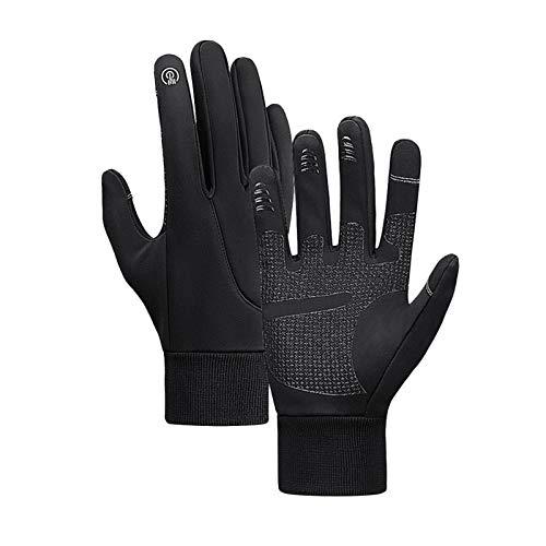 Negro invierno cálido guantes ciclismo deportes al aire libre ciclismo guantes eléctricos alineados con pantalla táctil impermeable antideslizante antideslizante resistente al desgaste de la bicicleta