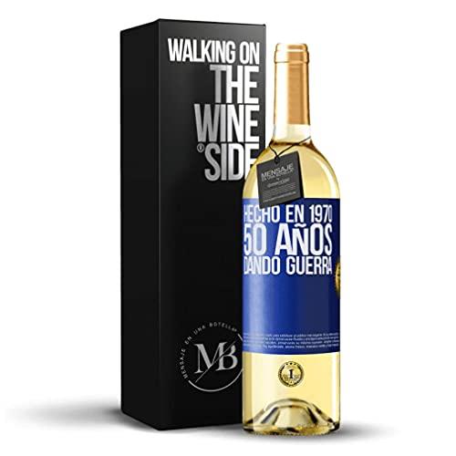 «Hecho en 1970 50 años dando guerra» Mensaje en una Botella. Vino Blanco Premium Verdejo Joven. Etiqueta Azul PERSONALIZABLE.