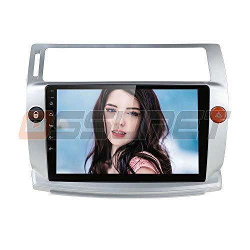 Ossuret 9 Inch Car Stereo Android 10 Car FM Radio Fit para Citroen C4 / C-Triomphe/C-Quatre 2004-2009 Soporte de Control del Volante + micrófono Gratuito