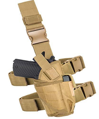 Drop Leg Holster Molle Airsoft Holster Thigh Pistol Gun Holster Tactical Adjustable Right Handed Carlebben (Tan)