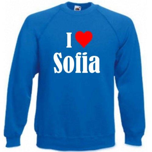 Reifen-Markt Sudadera I Love Sofia para mujer, hombre y niños en los colores negro, blanco y azul con estampado azul 140 cm