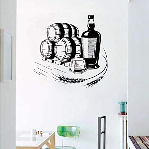 Pegatinas de pared de vino de trigo, bebidas alcohólicas, decoración, vasos, botella, vinilo, calcomanía de pared para Bar, decoración de ventana interior, pegatina 42X43CM