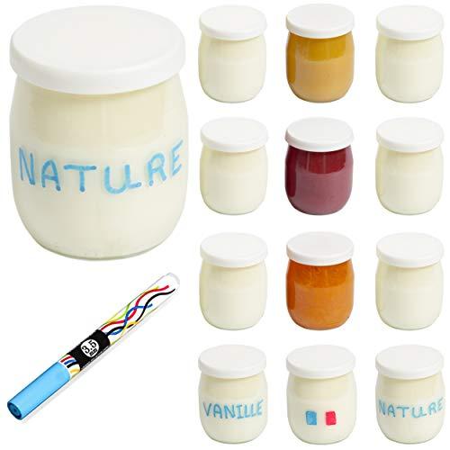 Monboco | lot de 12 Pots de yaourt en verre avec couvercles hermétiques | Fabrication Française | pour yaourtière & robots-cuiseurs (thermomix, cookeo, etc) | 142 ML / 125G | Stylo effaçable Offert