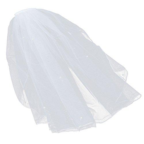 Amosfun Kurzer Hochzeitsmantel mit Perle für Hochzeitsparty Brautparty Brautplätze Blumenmädchen Verlobung Antrag Braut