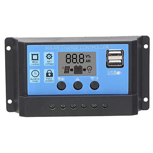 zhuolong Controlador de Cargador Solar Regulador Inteligente de batería de Panel Solar con Pantalla de Puerto USB Dual, identificación automática de Carga(10A)