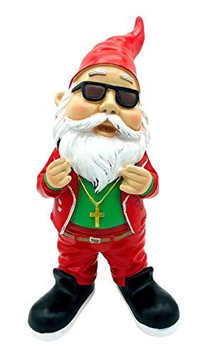 SEWAS Gartenzwerg Rocker Weihnachtsmann Santa Claus, handbemalt und wetterfest aus hochwertigem Kunstharz, Deko Figur Weihnachten
