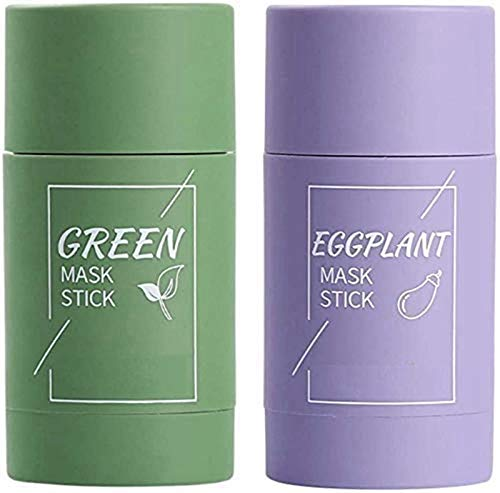 2pcsNatural Green Tea Purifying Clay Mask Stick Moisturizing Oil Control, Eggplant Hydrating Blackhead Remover Facial Mask Repair and Shrink Pores