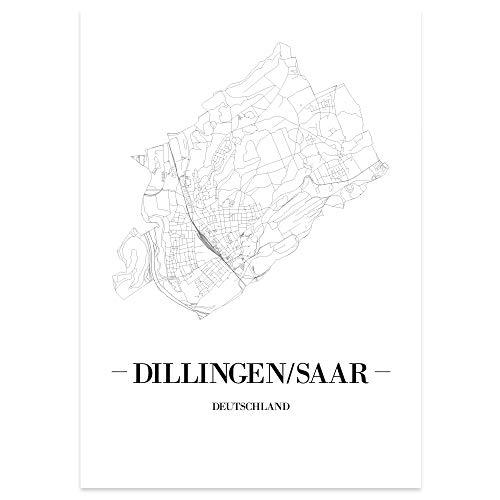 JUNIWORDS Stadtposter - Wähle Deine Stadt - Dillingen/Saar - 60 x 90 cm Poster - Schrift A - Weiß