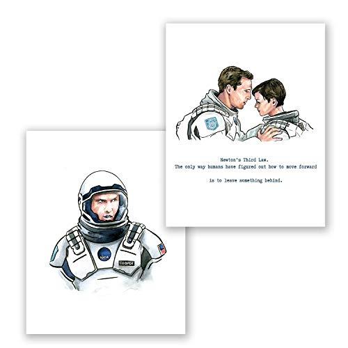 AtoZStudio Interstellar Poster - Set of 2 Movie Wall Art Prints // Quote Picture // Matthew McConaughey Portrait // Home Bedroom Decor