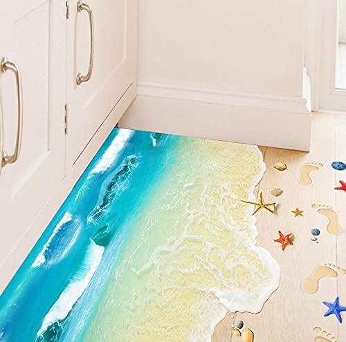 Pegatinas para el suelo Etiqueta engomada de la playa 3D Calcomanías murales extraíbles Arte de vinilo Baño Sala de estar Aplique de pared Papel tapiz de guardería-300x210cm