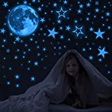 Glow in The Dark Stars for Ceiling, 1050 PCS Glow in The Dark Stars and Moon Wall Decals, Glowing Star Decal Decoration Ceiling Stars Stickers for Kids Room Decor Aesthetic(Blue)