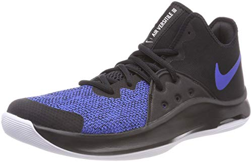 Nike Men's Air Versitile Iii Basketball Shoe (10.5) Black/Game Royal-White
