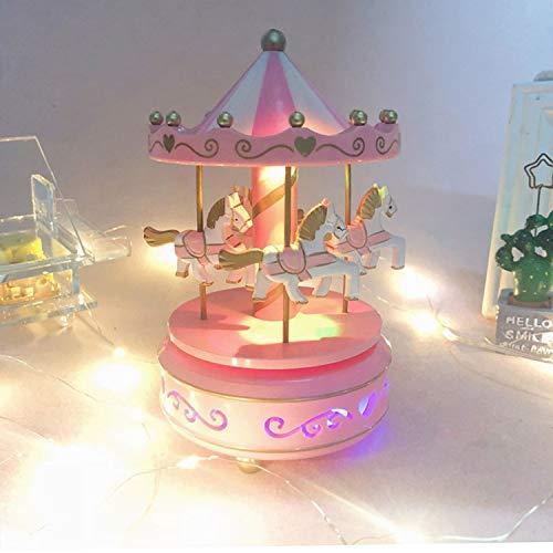 Karussell Hölzernes Vintage Spieluhr 4 Pferd Rotierende Musikbox mit bunter Beleuchtung LED Leuchtend Spielzeug Dekoration Weihnachten Geschenk für Mädchen Kinder